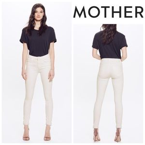 NWOT Mother High Waisted Looker Ankle Fray - Cream